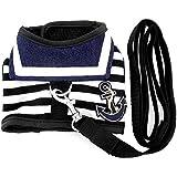 smalllee_Lucky_ store Haustier-Kleidung für kleine Hunde / Katzen, gestreiftes Matrosendesign-Geschirr mit Leine im Set, Netzstoff, Gepolstert