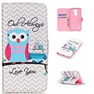 LG K8 Case,LG K8 Leather Case,LG K8 Cover,Flip Wallet case for LG K8 , Owl Patterned PU Leather Stand Function Protective Cases Covers with Card Slot Holder Wallet Book Design Fordable Magnet Closure Case for LG K8