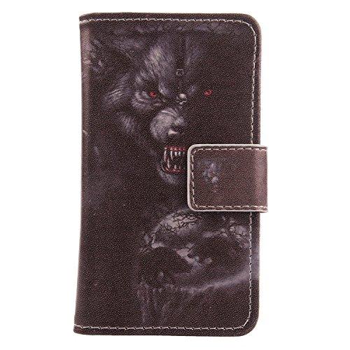 Lankashi PU Flip Leder Tasche Hülle Case Cover Schutz Handy Etui Skin Für Archos Sense 47X 4.7 (Bear Design)