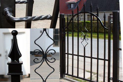 Luxus4Home 4,9m Doppelflügeltor Set Toreinfahrt 4,0m inkl. Gartentor 0,9m Gartenzaun Komplett-Set inkl. Torelemente, Pfosten und Beschlag