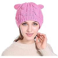 27e44ab8b22cc ZXGJMZ Moda otoño Invierno Mujer Gorros Sombrero con Lindo Orejas de Gato  Rosa de Punto Sombrero