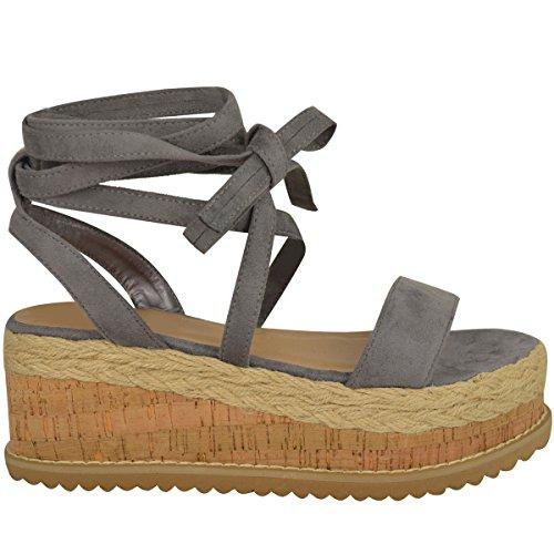 Femmes Paltes Liège Sandales Espadrille Semelle Compense Cheville Chaussures À Lacets Taille Gris Faux Suédé