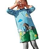 feiXIANG Mädchen Streifen T-Shirt Kleid Langärmelig Kinderkleider Festliche Kleinkind Baby Weihnachts Outfits Kleidung (110, Blau 1)