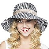 YSXY Sonnenhut für Damen Mädchen Fischerhut Sonnenschutz Strandhut Anti-UV Streifen Hüte Hut...