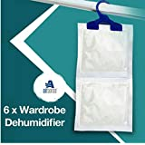 6 x Wardrobe Dehumidifier- Hanging Wardrobe Dehumidifier Ideal to stop damp, mould mildew & condensation - Remove damp and improve air quality by Airsense