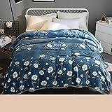Xuan - worth having Grau-blaue weiße Blumen-Muster-Winter-Schlafsaal-Studenten-Decke Flanell verdicken Steppdecken-thermische Blätter ( größe : 180*200cm )