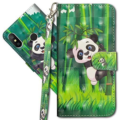 MRSTER Funda para Xiaomi Redmi S2, 3D Brillos Carcasa Libro Flip Case Antigolpes Cartera PU Cuero Funda con Soporte para Xiaomi Redmi S2. YX 3D Panda Bamboo