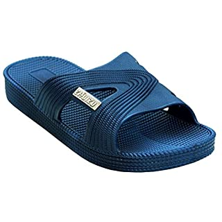 A&H Footwear Mens Lightweight Slip On EVA Open Toe Summer Shower Beach Pool Sliders Flip Flops Casual Mules Sandals Shoes UK Sizes 6-12 (UK 6, Navy)
