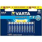 Varta High Energy AAA Micro LR03 Alkaline Batterie (geeignet für Spielzeug Taschenlampe Controller und andere batteriebetriebene Geräte) 10er Pack