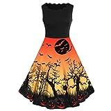Vestido de Halloween con Encaje Estampado Negro Vestido de Noche de Encaje Retro de Halloween de Manga Corta Mujer Vestido de Oscilación de Calabaza de línea Disfraces Fiesta