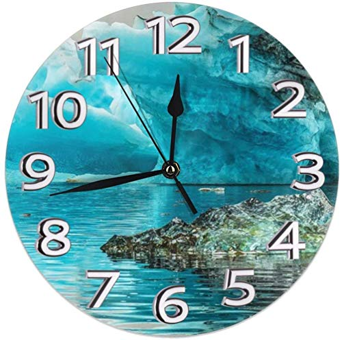 kickete Wall Clock The World Ice Round Clock 9.8 Inch Silent Home Decor Wall Clock Arabic Numerals Indoor Clock