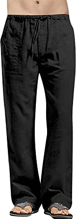 VANVENE Mens Linen Trouser Loose Fit Casual Lightweight Drawstring Beach Yoga Pants