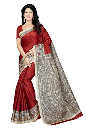 Rani Saahiba Madhubani Printed Art Bhagalpuri Silk Saree ( Maroon_SKR3314 )