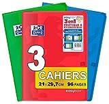 OXFORD EasyBook Lot de 3 Cahiers Agrafés Format A4 (21 x 29, 7cm) 96 Pages Grands Carreaux Seyès 90gr Couleurs Assorties