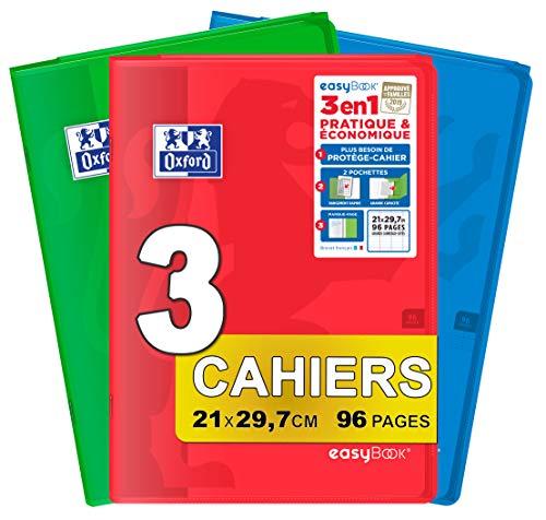 Kariert, 3 Stück (Oxford EasyBook Hefte, A4, 21 x 29, 7 cm, 96 Seiten, kariert, 90 g, verschiedene Farben, 3 Stück)