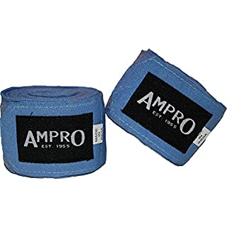 Ampro 4.5m Stretch Boxing Hand Wraps - Boxing / MMA / Martial Arts / Fitness / 450cm / Various Colours (Sky Blue)