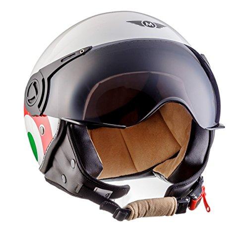 Moto Helmets H44 Italy · Retro Roller-Helm Vintage Mofa Jet-Helm Pilot Chopper Vespa-Helm Moto Helmetsrrad-Helm Scooter-Helm Biker Bobber Cruiser Helmet · ECE zertifiziert · inkl. Sonnenvisier · inkl. Stofftragetasche · Weiß · S (55-56cm) - 2