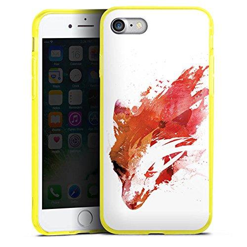Apple iPhone 7 Silikon Hülle Case Schutzhülle Fuchs Street Art Wasserfarbe Silikon Colour Case gelb