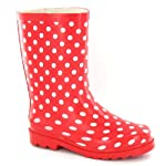 Girls Red Wellies with White Spots - up to Size 5