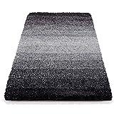 Badematte Ombre Schwarz | Hochflor Badteppiche Zum Set Kombinierbar | Verschiedene Größen von der Duschmatte bis zur Wannenvorlage (60x100cm)