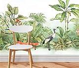 Tv Kulisse Fototapete Home Dekoration Benutzerdefinierte Tapete Südostasien Handgemalte Tropischer Regenwald Pflanzen Blumen Und Vögel Landschaft 3D Tapete Wandbild, 430 * 300