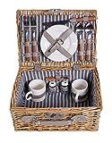 eGenuss Cestino da picnic completo di articoli per la tavola in porcellana 2 persone cesto di vimini cestino da picnic in salice cestino da picnic in legno di vimini (grigio)