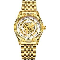 BINLUN 18 K Chapado en Oro automático de muñeca Relojes para Hombres mecánicos Hombres Vestido Reloj