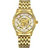 binlun Herren 18 K Gold Ton Edelstahl Skelett Armbanduhr mit Leuchtzeigern