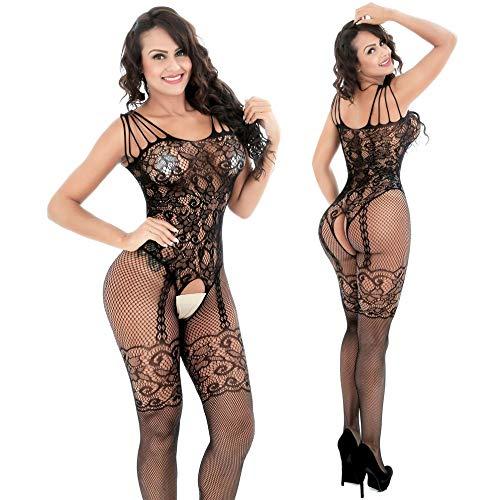 XINNALI Bodystockings sexy Sexy Unterwäsche Sexy Transparent Hollow -Out Close -Fitting Open -Gear Suspension Linked -up Netsuit Linked -up Socken,schwarz,Einheitlicher Code - Sexy Form-fitting
