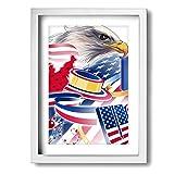 Sahdd bandiera americana Aquila 30cm x 40cm galleria cornice foto arte pittura stampa Giclee su tela pronta da appendere New Modern Wall Art, bianco, taglia unica