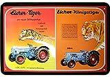 Eicher Tiger und Eicher Königstiger Reklame Blechschild Replik