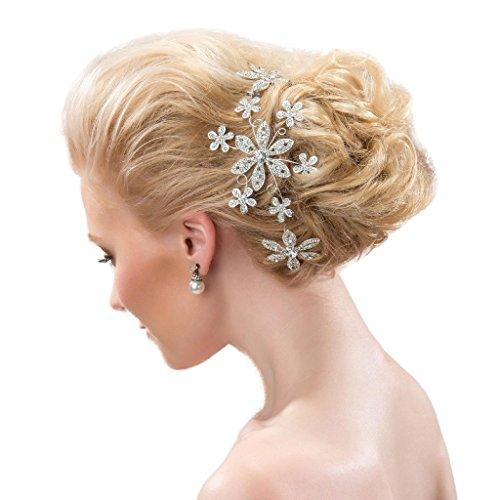 CLOCOLOR Tocados de cristales perlas para mujer joya de pelo de novia