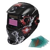 Yorbay® Solar Automatisch verdunkelnd Schweißhelm Schweißmaske mit 5 Stück Ersatzgläser, Schleif-Funktion (Rauch, rotes Licht)