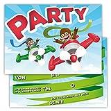 12 Lustige Einladungskarten im Set für Kindergeburtstag Party mit Flieger Flugzeug Banner für Jungen Mädchen Kinder Top Geburtstagseinladungen Karten witzig
