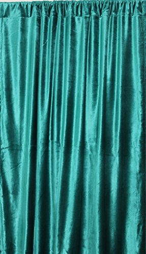 "INDIAZ TRENDS Vintage Cotton Velvet Curtains 90"" W by 108"" L Drop Length, Velvet Drapes, Fully Lined Panels, Thick and Heavy Weight, Non Pleated Curtains, 100% Cotton VELVET Curtains by (Teal Green)"