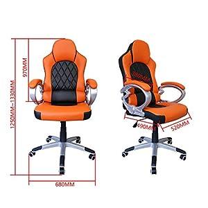 51E5exnJtsL. SS300  - HG-silla-giratoria-de-oficina-silla-de-juego-confort-premium-apoyabrazos-tapizados-silla-de-carrera-capacidad-de-carga-200-kg-altura-ajustable-negro-naranja