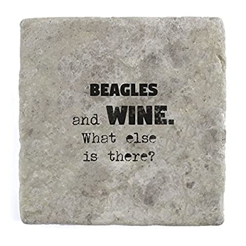 Beagles and wine what else is there? - Marble Tile Drink Coaster