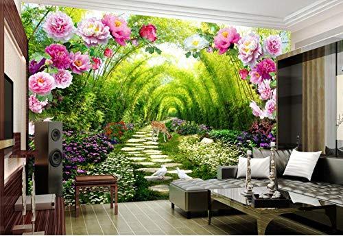 HDOUBR papel de parede 3d wallpaper Modernes hotel design dekoration wandbild garten schatten straße blume tür hirsch 3d wallpaper @ 400x280_cm_ (157.5_by_110.2_in_) _ -