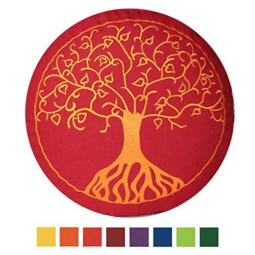 maylow - Yoga mit Herz Stickerei Baum Des Lebens Dinkelspelz Gefüllt-Bezug und Inlett 100% Baumwolle Yogakissen Meditationskissen, Buddhistisch Rot, 33 x 15 cm