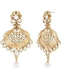 Zaveri Pearls Drop Earrings for Women (Golden)(ZPFK7168)