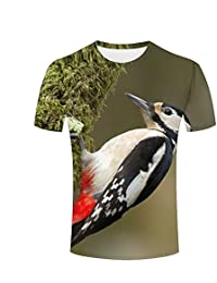 WEIYI BO Mens 3D Animal Print Tees Acorn Woodpecker Bird Short Sleeve T-Shirts for Couples