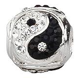 soulbead Yin Yang Charme en Argent Sterling 925avec cristal autrichien Noir et Blanc Perle pour bracelet bijoux européenne