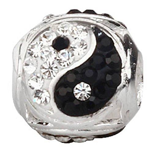arme mit Schwarz und Weiß österreichischen Kristallen 925Sterling Silber Bead für European Armband Schmuck (Schwarz, Weiß Und Silber Dekorationen)