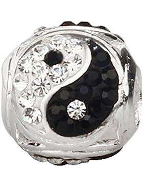soulbead Yin Yang Charme mit Schwarz und Weiß österreichischen Kristallen 925Sterling Silber Bead für European...