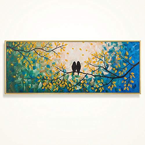 QYYDYH Abstrakt Nacht dekorative malerei horizontale Version Streifen malerei Wohnzimmer korridor ölgemälde hängen Bild Kern flügel Vogel und Blume wandbild Rahmen größe 160 * 70 cm einfache Gold L- -