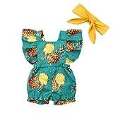 GreatFun Einteiler, Mädchen Set Jumpsuit Baby Flughülle Rüschen Ananas Obst Print Lätzchen + Haarband, Kleinkind Baby Kind Mädchen Obst Ananas Falten Kleidung, 0-3 Jahre