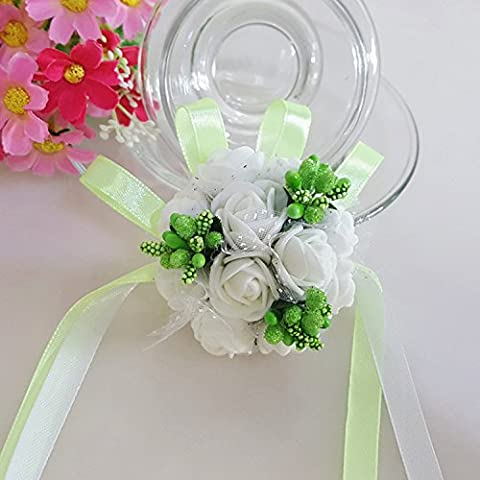 Wedding Artificial Rose flower Diamante Pearl Bridesmaid Wrist Corsage Pack of 5-Green