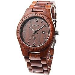 FunkyTop Holz Mann Uhr analoge Quarz Uhrwerk mit Kalenderanzeige (Red sandalwood)