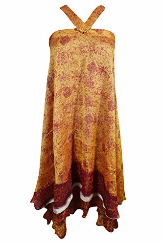 Magic Wrap Kleid (Mogul Innen Damen Wrap Rock Reversible Zwei Schicht Seide Sari Magic Wrap Kleid, Gelb-3, Waist: Opens to 42