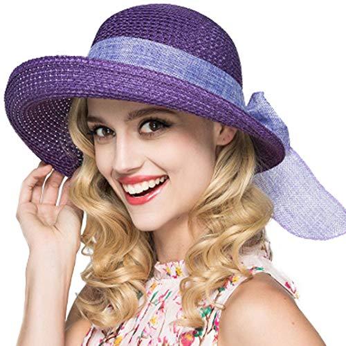 amen Strohhut Faltbare Kappe Floppy breiter Krempe Sommer Strand Hüte für Frauen Mädchen (Violett) ()